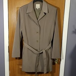 Anne Klein Lined Khaki Trench Coat Sz L